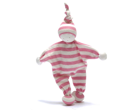 Pebble Fair Trade - Pink Striped Baby Comforter - How I Wonder.co.uk