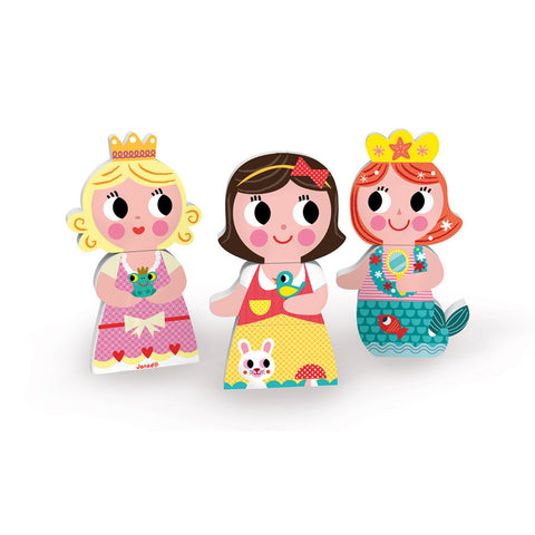 Janod Toys - Wooden Funny Magnets - Princesses - How I Wonder.co.uk