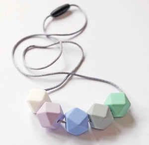 Hexagonal Teething Necklace - Blue & Mint - Blossom & Bear - how-i-wonder