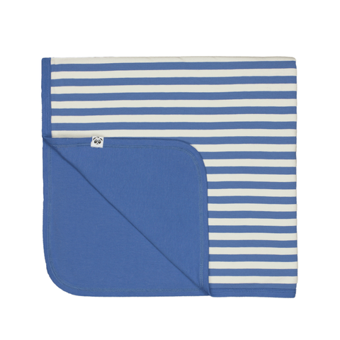 Bamboo Striped Reversible Baby Blanket  - Panda and the Sparrow - Sapphire & Natural - How I Wonder.co.uk - 1