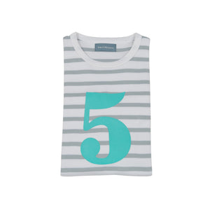 Grey & Turq Breton - Number 5 T-shirt - Bob & Blossom - how-i-wonder