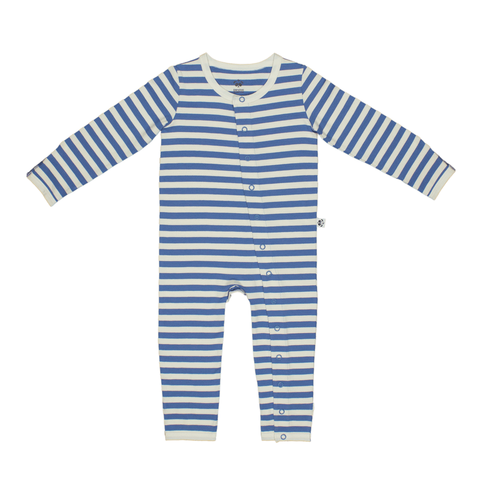 Bamboo Striped Baby Grow - Panda and the Sparrow - Sapphire & Natural - How I Wonder.co.uk - 1