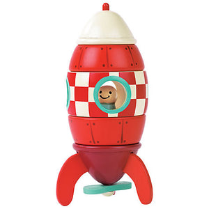 Janod Toys - Magnetic Wooden Toy Rocket - How I Wonder.co.uk - 1