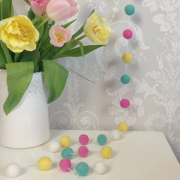Felt Ball Garland - Summer Time - Stone & Co - how-i-wonder