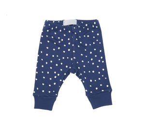 Midnight Blue & White Spot - Baby Leggings - Bob & Blossom - how-i-wonder