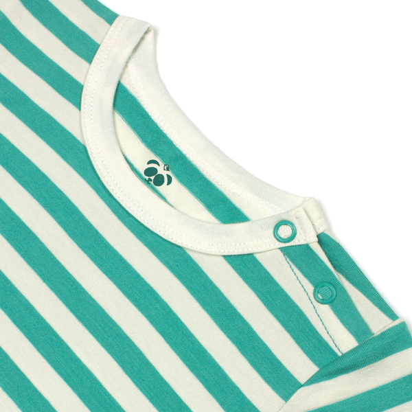 Bamboo Striped Body T-Shirt - Panda and the Sparrow - Jade & Natural - How I Wonder.co.uk - 3
