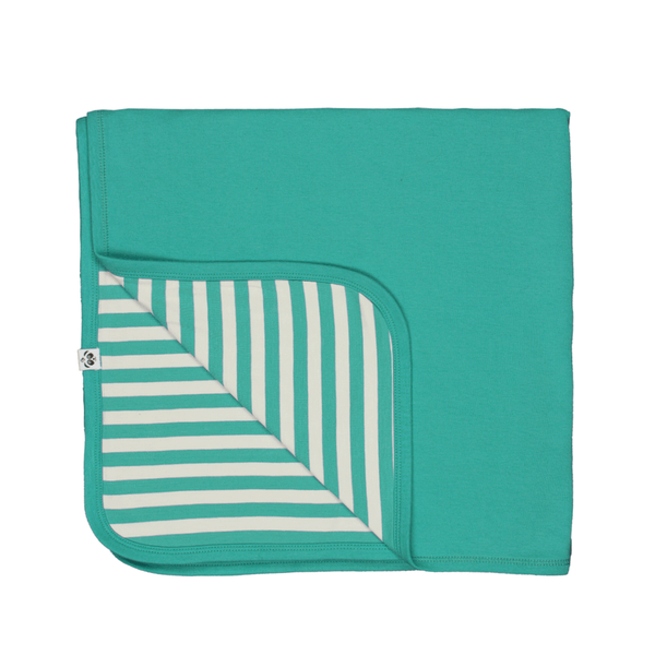 Bamboo Striped Reversible Baby Blanket  - Panda and the Sparrow - Jade & Natural - How I Wonder.co.uk - 2