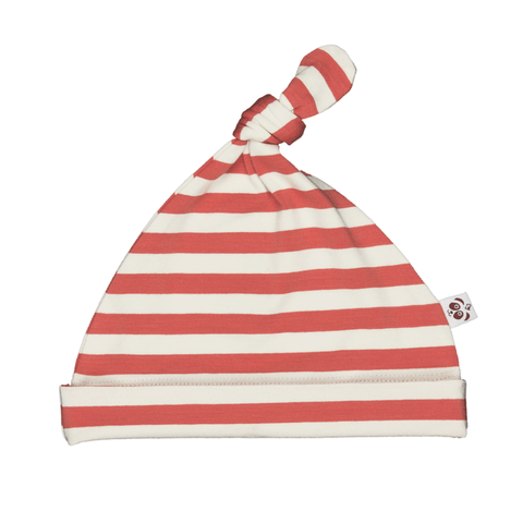 Bamboo Striped Knotted Baby Hat - Panda and the Sparrow - Coral & Natural - how-i-wonder