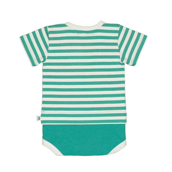 Bamboo Striped Body T-Shirt - Panda and the Sparrow - Jade & Natural - How I Wonder.co.uk - 2