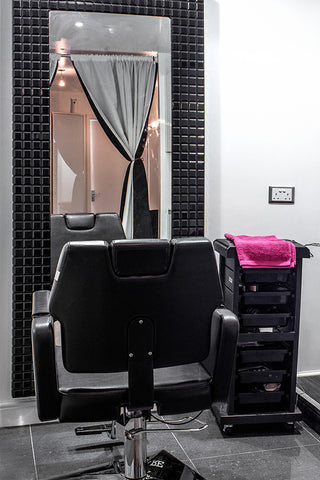 Stylist station situated in the Beyond Hair Boutique