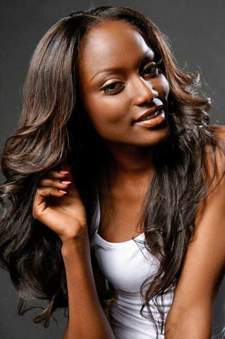 woman wearing straight brazilian hair extensions