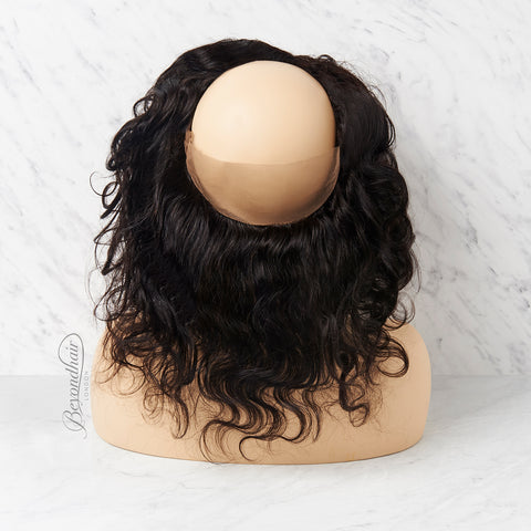 Hairdressing training head wearing 360 lace frontal wig