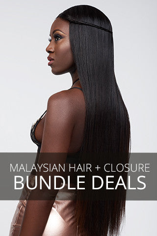 model posing with long, straight Malaysian hair extensions