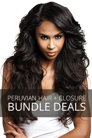Model posing with dark brown Peruvian hair extensions