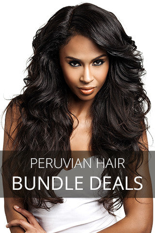 Model posing with wavy Peruvian hair extensions