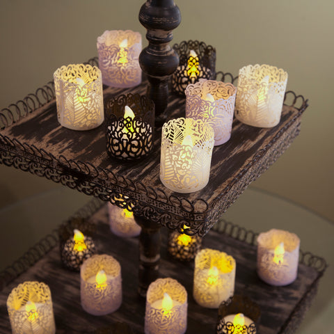 flameless tea lights wedding decor