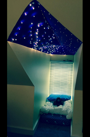 sleeping nook fairy lights