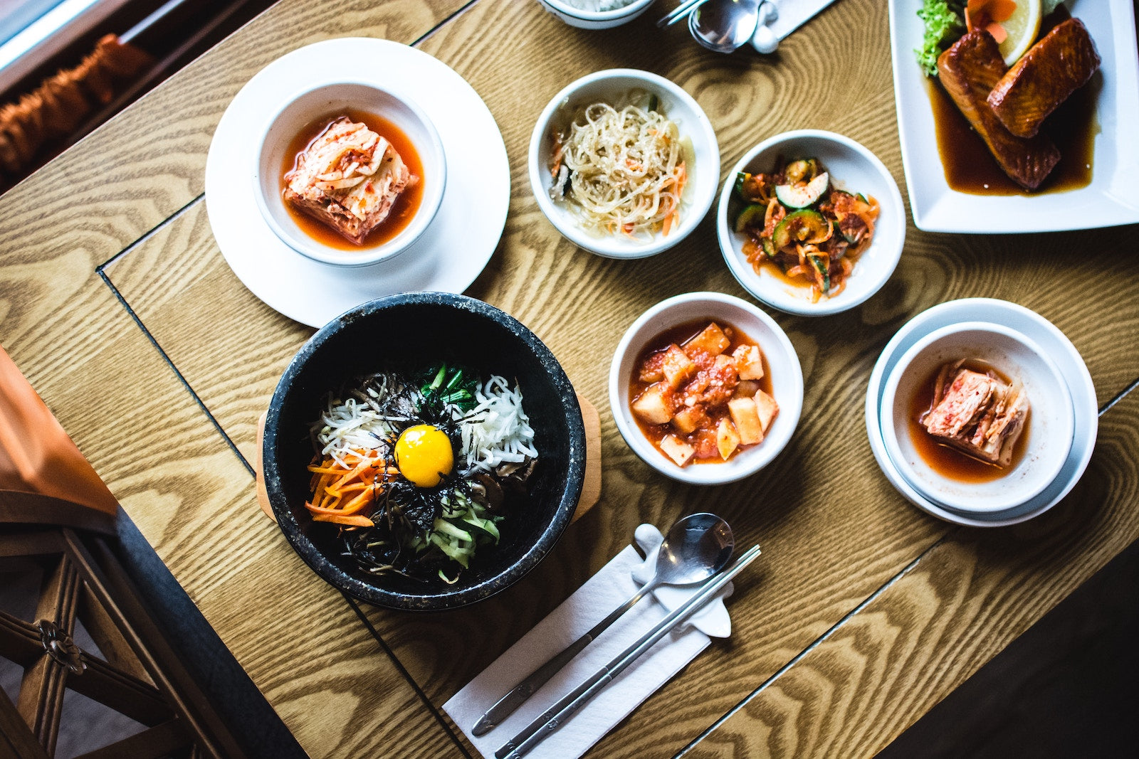Korean dinner with kimchi