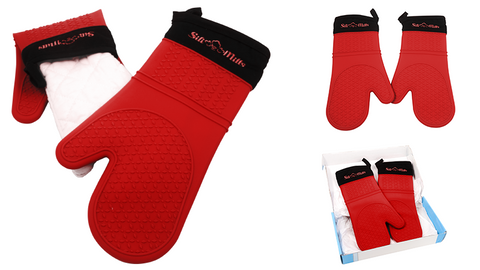 red oven mitts
