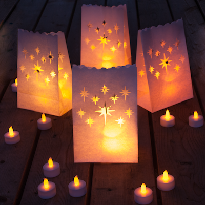 Best Flameless Tealights + Bonus Luminary Bag Set,  24 Battery Operated LED Tea Lights & 12 Star Cutout Luminary Bags, Fake Candles with Realistic Flame,  80+ Hours of Safe LED Flamesless Candlelight