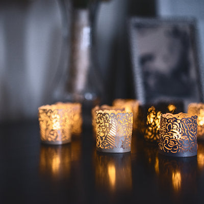 Tea Lights With Decorative Wraps In 3 Styles And Colors