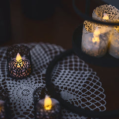 FLAMELESS CANDLE TEA LIGHT SET 24 Flickering LED Battery Operated Mini Tealight Candles With BONUS Votive Wraps Included - Use For Home Decor, Party, Wedding, Halloween, Christmas or Any Occassion