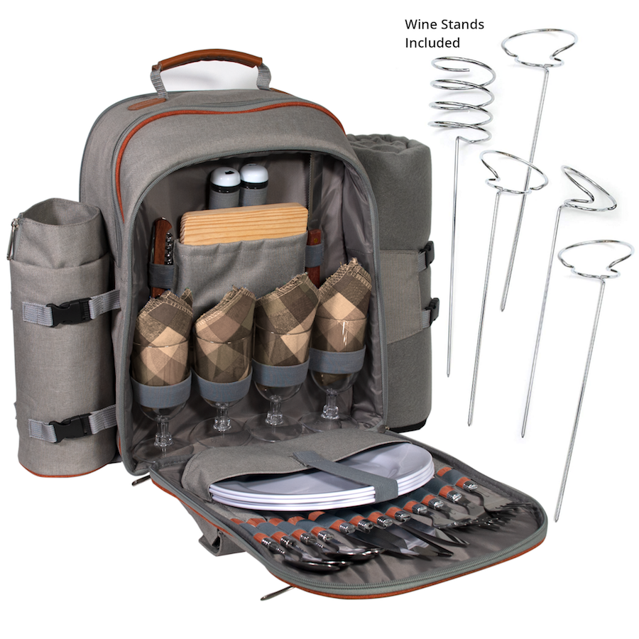 Picnic Backpack Set Pack With Wine Stand & Glasses, Cutlery, Dinnerware, Detachable Insulated Waterproof Compartment Pouch In The Cooler, Blanket For Family Outdoor Dining & Camping (4 Person)