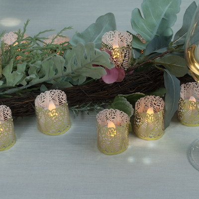 Flameless LED Tea Light Candles - Bonus Decorative Holder Wraps Included, Battery Operated, Flickering Votive Fake Tealights - 24 pack