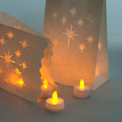 24 Flameless Tea Lights Yellow Flickering LED Tealight Candles with 12 Bonus Luminary Bags
