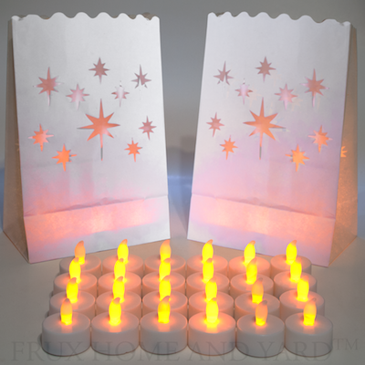 Flameless Tea Lights - 24 Yellow Flickering LED Tealight Candles with Bonus Luminary Bags Included from Frux Home and Yard