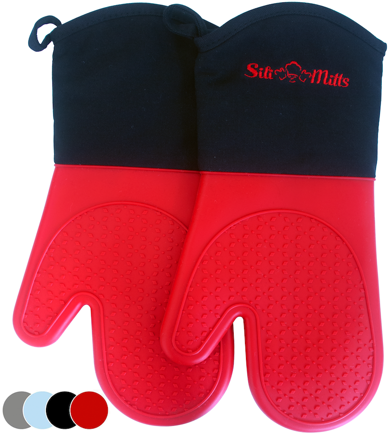 Silicone Pot Holder Mitts - 1 Pair of Extra Long Professional Heat Resistant Pot Holder & Baking Gloves - Food Safe, BPA Free FDA Approved With Soft Inner Lining