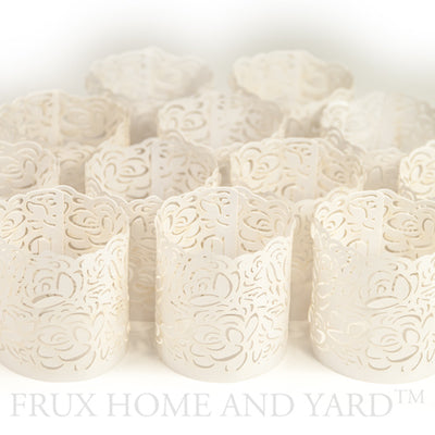 Flameless Tea Light Votive Wraps- 48 laser cut decorative wraps for Flickering LED Battery Tealight Candles (not included)