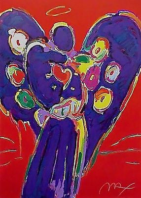 Angel with Heart Silk-screen Print on Red by Peter Max - Fine Artwork
