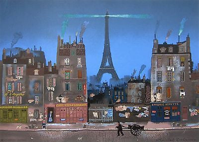 Tour Eiffel le Soir, Ltd Ed Lithograph, Michel Delacroix - Fine Artwork
