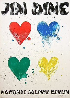 Four Hearts, 1971 Exhibition Poster, Jim Dine - SIGNED! - Fine Artwork