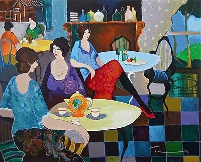 Afternoon Tea, Limited Edition Silkscreen, Izchak Tarkay - Fine Artwork