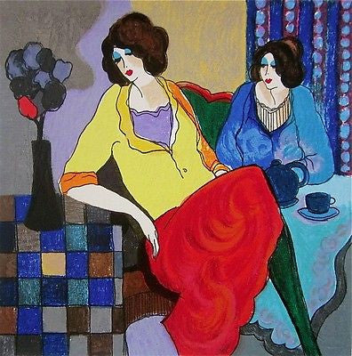 Sisters, Ltd Ed Silk-screen, Itzchak Tarkay - Fine Artwork