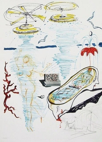 Liquid Tornado Bathtub, Ltd Ed Mixed Media (Lithograph & Collage), Salvador Dali - Fine Artwork
