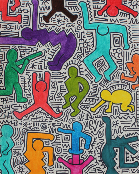Homage to Haring (Dancing Figures), Original Ink & Pen, Chris van der Els - Fine Artwork
