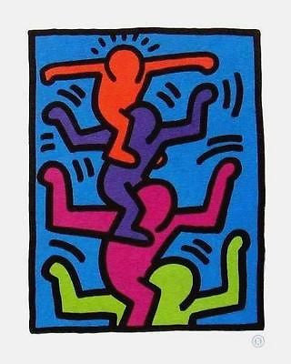 Stacked Figures, Offset Lithograph, Keith Haring - Fine Artwork