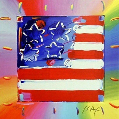 Flag with Heart III by Peter Max - Fine Artwork