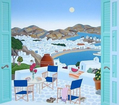 Mykonos Terrace, Ltd Ed Silk-screen, Thomas McKnight - Fine Artwork