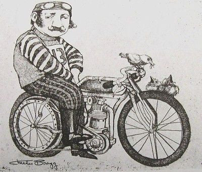 The Cyclist, Duotone Lithograph, Charles Bragg - Fine Artwork