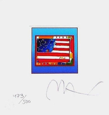 Flag w/Heart on Blue by Peter Max - Fine Artwork