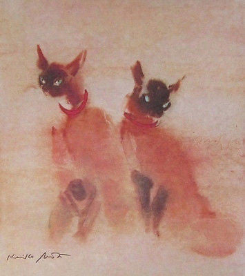 Siamese Cats, Offset Lithograph, Kaiko Moti - LOW! - Fine Artwork