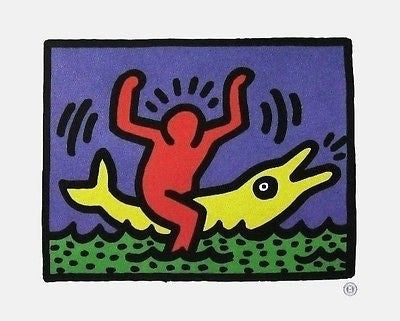 Untitled (Pop Shop Dolphin), Offset Lithograph, Keith Haring