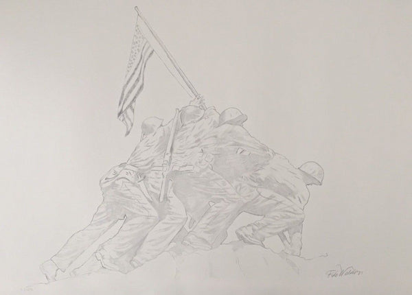 Iwo Jima Memorial, Limited Edition Litho with Graphite Ink, Felix de Weldon - Fine Artwork