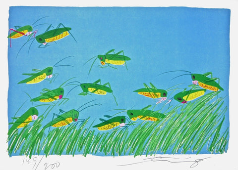 Lucky Grasshoppers, Limited Edition Lithograph, Walasse Ting - Fine Artwork