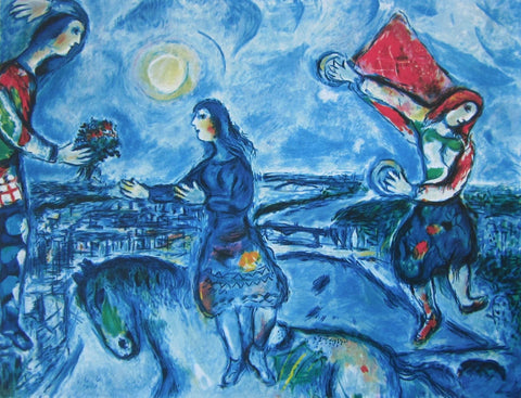 Lovers Over Paris, Ltd Ed Offset Lithograph, Marc Chagall - Fine Artwork