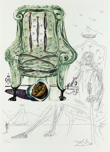 Breathing Pneumatic Armchair, Ltd Ed Mixed Media (Lithograph & Collage), Salvador Dali